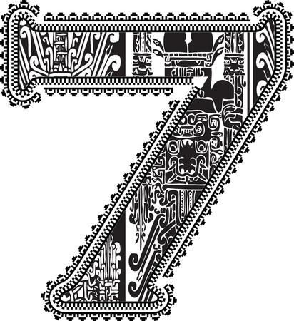 number 7: Ancient number 7. Illustration