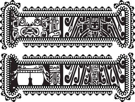 cultura maya: símbolo de igualdad con dibujo antiguo. Ilustración vectorial Vectores