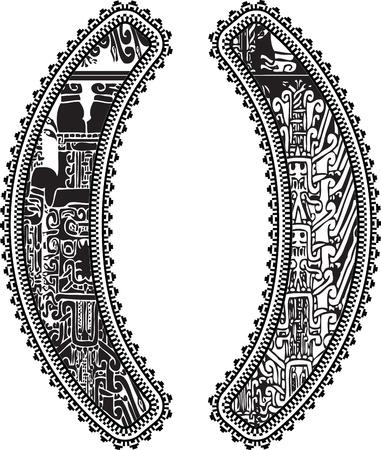 cultura maya: Paréntesis símbolo con el dibujo antiguo. Vectores