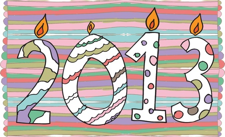 happy new year 2013 made with candles Stock Vector - 14801775