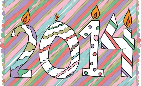 happy new year 2014 made with candles Vector