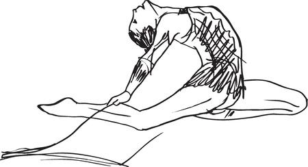 gymnasts: Sketch of woman rhythmic gymnastics art dancer