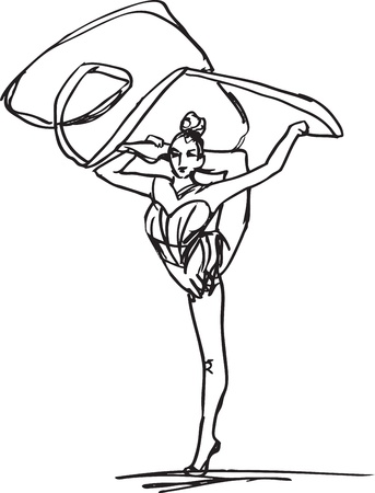 Sketch of woman rhythmic gymnastics art dancer Vector