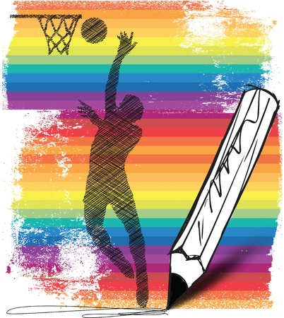hand baskets: Drawing of Basketball player