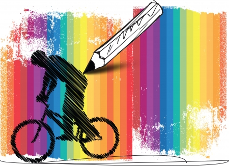 abstract bikers with colorful background Vector