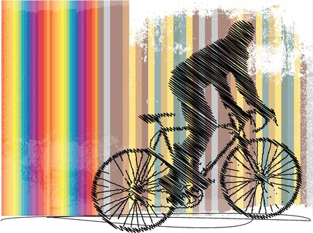 Drawing of biker with colorful background Vector