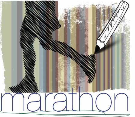 Marathon runner in abstract background Vector