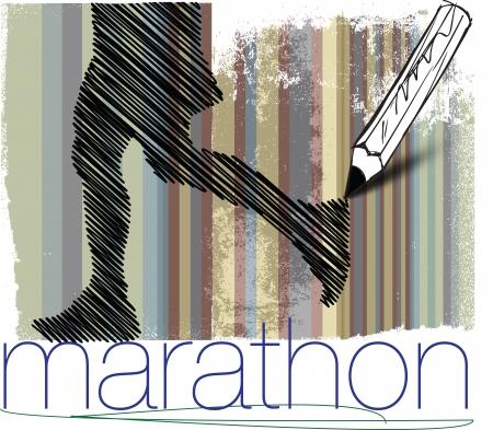 Marathon runner in abstract background