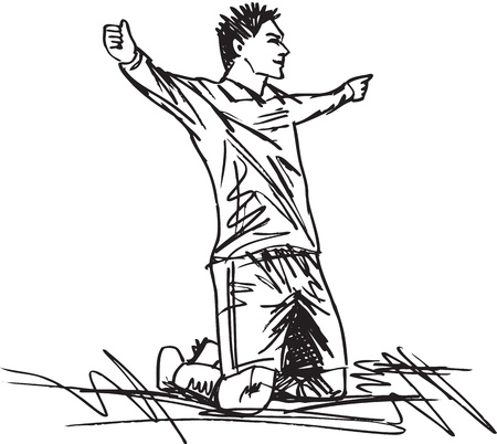 applause: sketch of happy soccer player is celebrating a goal