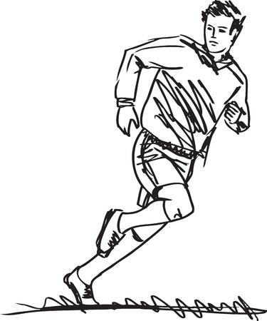 futbol soccer: Sketch of Soccer Player Illustration