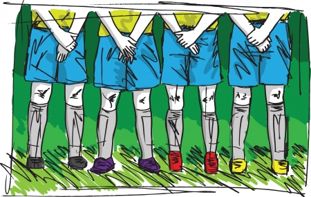 Sketch of Soccer players preparing for free kick