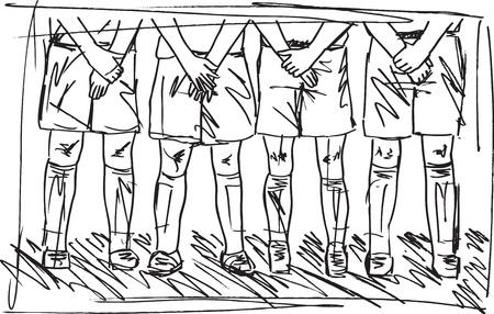Sketch of Soccer players preparing for free kick Illustration