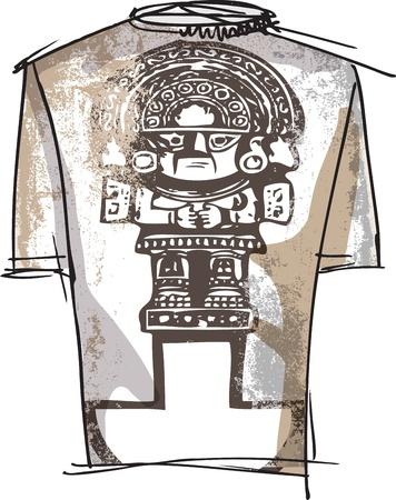 inca ruins: Grunge inca tee Illustration