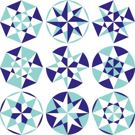 Set of arabesque elements, arabic persian geometric vector motif Illustration