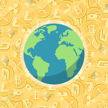 Cryptocurrency gold vector coins with cryptocurrency symbol and Earth