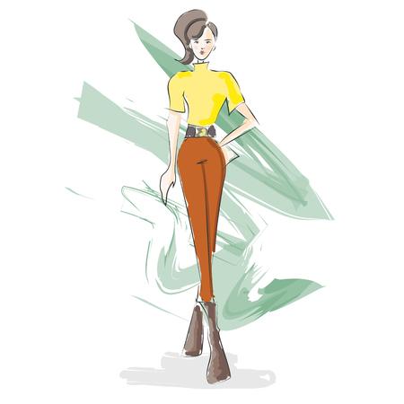 Fashion design illustration watercolor sketch. Autumn fashion. Illustration