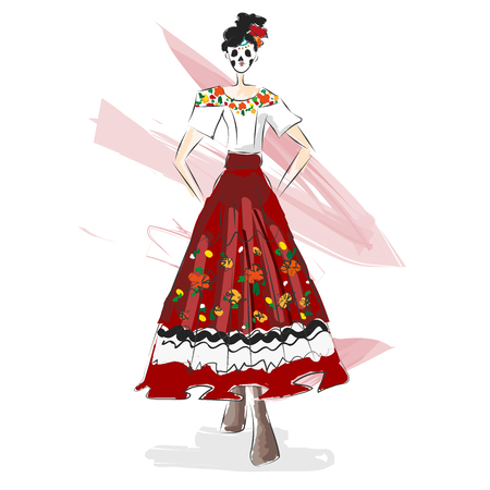 Day of the dead, D?a de Muertos traditional mexican dress fashion illustration watercolor-like sketch. Woman in maxican dress and flower skull.