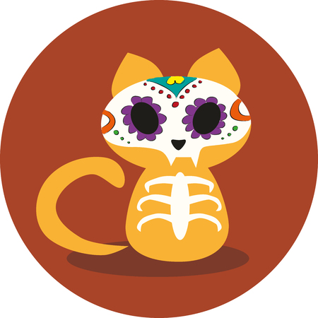 Day of the Dead, Dias de los Muertos, Halloween cute ginger cat skeleton and flower skull vector illustration with colorful and simple sketchy style. Ilustração