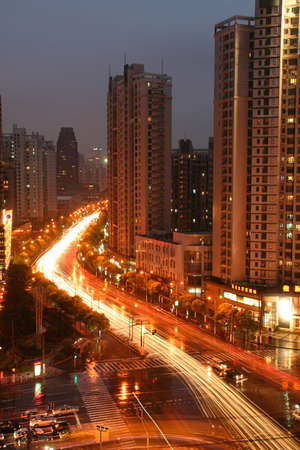 down lights: Night shot of an intersection in Shanghai, China.