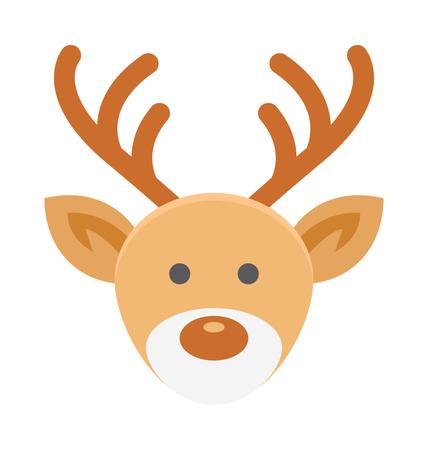 Reindeer Face Vector Illustration Icon Illustration