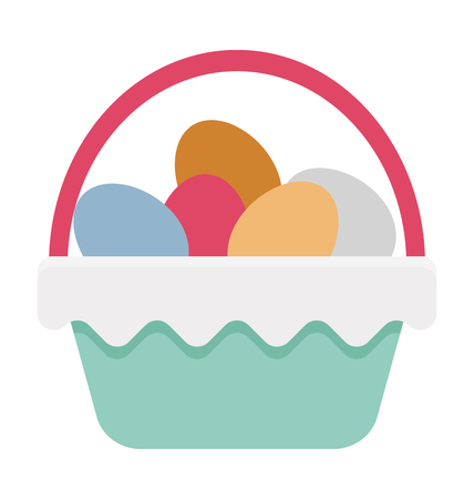 Easter Basket Vector Illustration Icon
