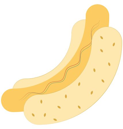 Hot Dog Line Vector Isolated Icon customized and editable