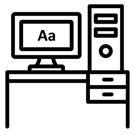 Computer table, job, office, workplace, workstation, icon, illustration, editable, stationary, study, official material or equipment Line vector icon which can easily modify or edit