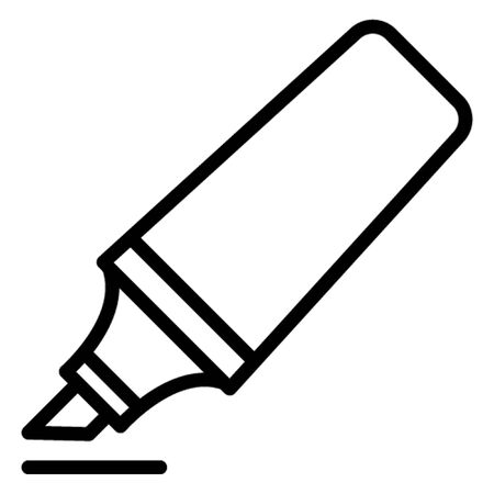 Highlight pen, highlight text, highlighter, marker, office supplies, icon, illustration, editable, stationary, study, official material or equipment Line vector icon which can easily modify or edit Vettoriali
