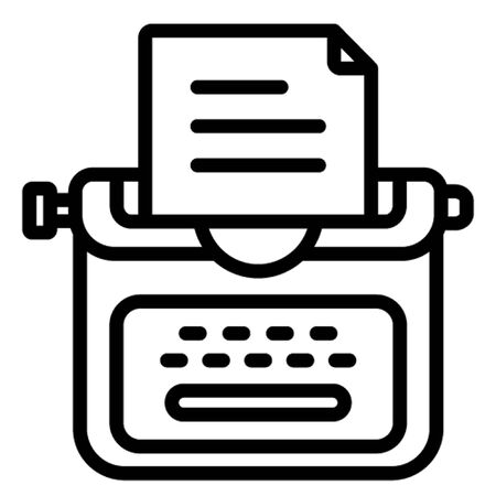 Author concept, composing novel, copywriter, typewriter, typing machine, icon, illustration, editable, stationary, study, official material or equipment Isolated Vector icon which can easily modify or edit Çizim