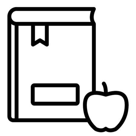 Apple with book, healthy reading, knowledge, learning, scholastic, icon, illustration, editable, stationary, study, official material or equipment Isolated Vector icon which can easily modify or edit