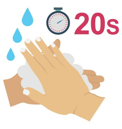 Long time hand wash Color Vector  icon editable