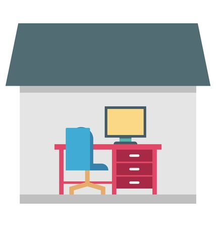 Work at home Color Vector  icon editable Illustration