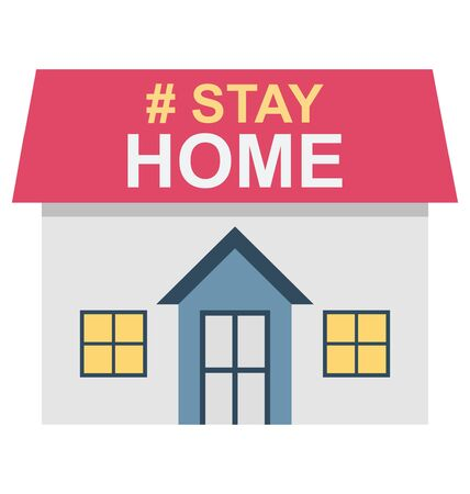Stay at home, Coronavirus Color Vector  icon editable