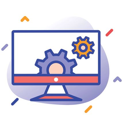 Monitor, cog wheels, control  fully editable vector icon Illustration
