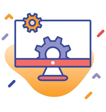 Monitor, cog wheels, control fully editable vector icon