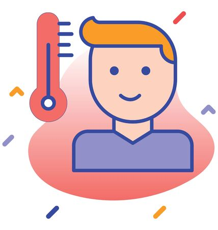 Patient, fever, testing thermometer fully editable vector icon Illustration