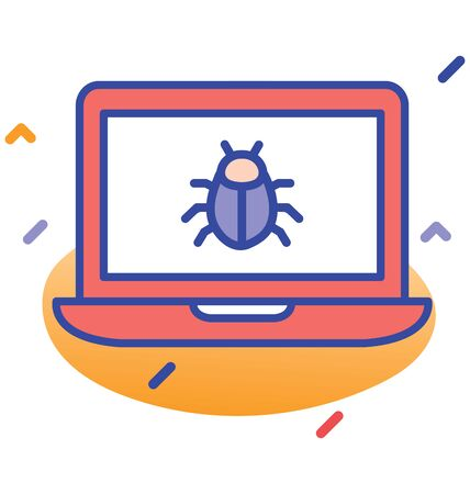 Laptop, bug, virus  error fully editable vector icon