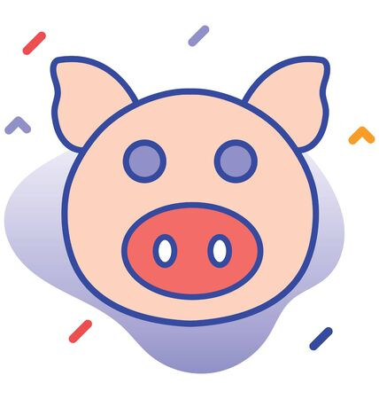 Pig, carrier,  pork fully editable vector icon
