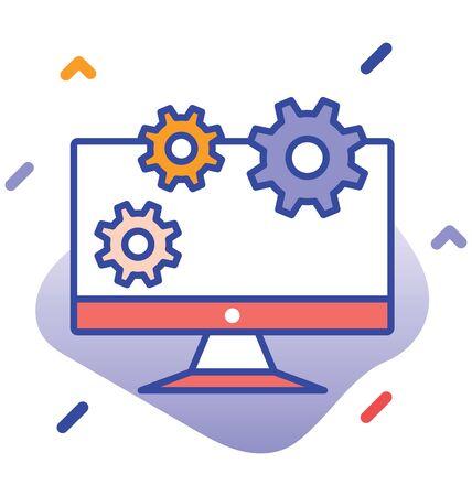 Monitor, cog wheels, control editable vector icon