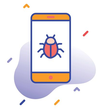 Bug, mobile. Phone  virus fully editable vector icon Illustration