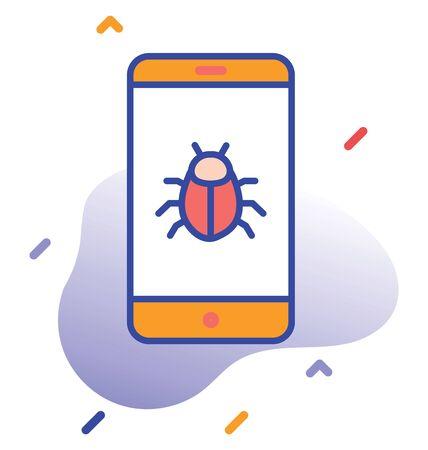 Bug, mobile. Phone  virus fully editable vector icon 向量圖像