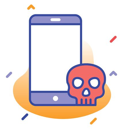 Mobile, phone, skull danger fully editable vector icon