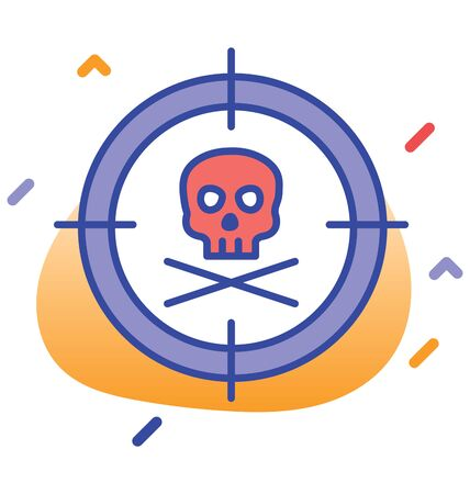 Danger, skull, death  pirate fully editable vector icon