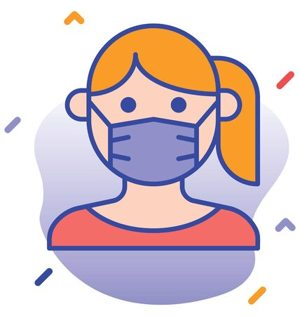 Facemask, mask editable  icon Illustration