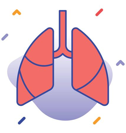 Lungs, infected lungs  vector icon