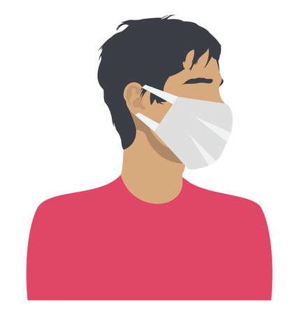 Coronavirus Wear Mask Color Vector Illustration