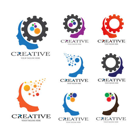 Creative mind with Gear icon templates, vector  technology for business corporate, human brain, creativity, illustration -vector