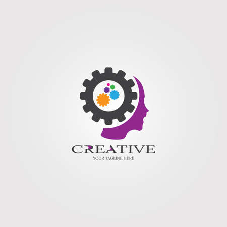 Creative mind with Gear icon templates, vector logo technology