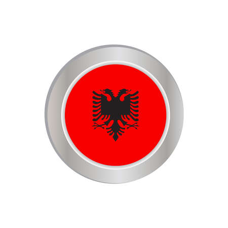 Simple Albanian flags isolated in official colors, map pins, like the original