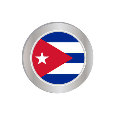 The simple flag of Cuba is isolated in official colors (blue,red and white), map pin, as the original